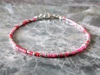 Dainty Pink, Red & Silver Seed Bead Holiday Anklet | Silver Sensations